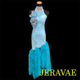 MINT BLUE AND PINK FEATHER LATIN/RHYTHM DRESS LAT003 sz Small