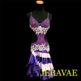 RESALE LENIQUE PURPLE LACE LATIN/RHYTHM DRESS LAT006 sz Small