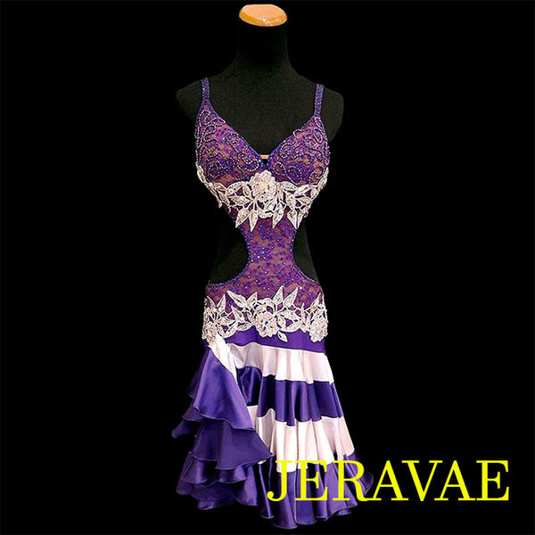 RESALE LENIQUE PURPLE LACE LATIN/RHYTHM DRESS