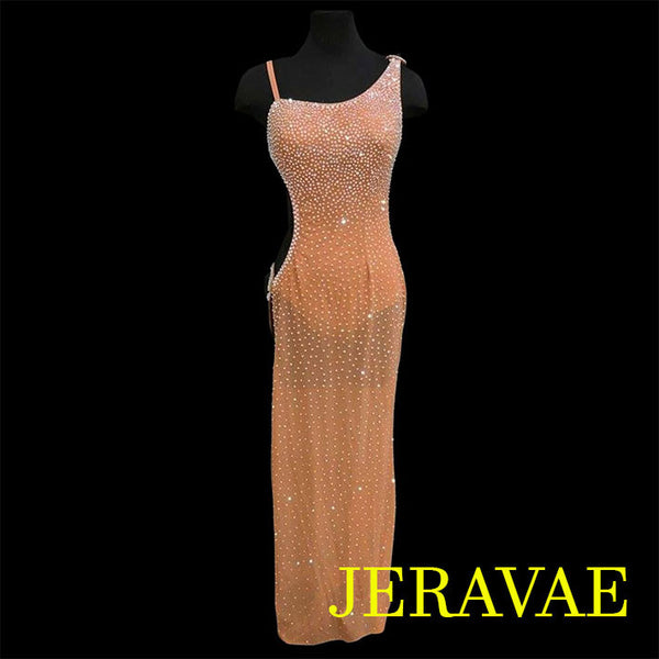 LONG NUDE LATIN DRESS WITH TONS OF SWAROVSKI CRYSTALS