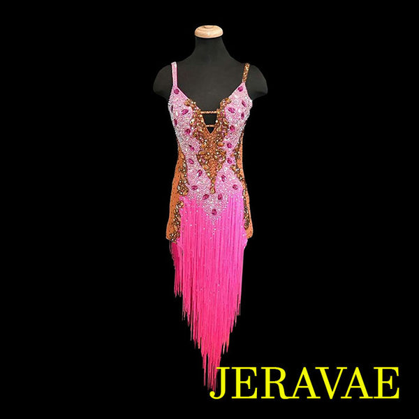 PINK AND BROWN FRINGE LATIN/RHYTHM DRESS