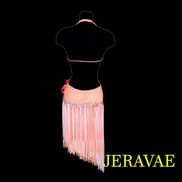 ORANGE LATIN/RHYTHM DRESS WITH WHITE AND ORANGE FRINGE SALE!! LAT019 sz Small