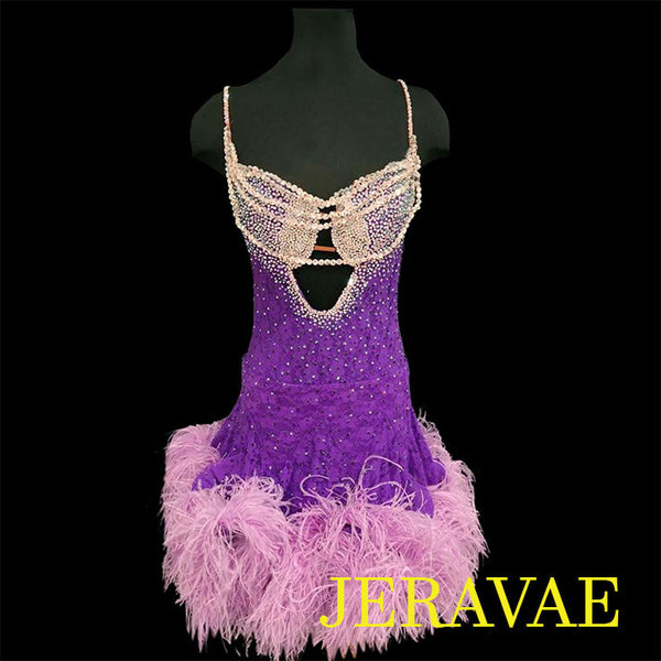 PURPLE LACE LATIN/RHYTHM DRESS WITH FEATHERS
