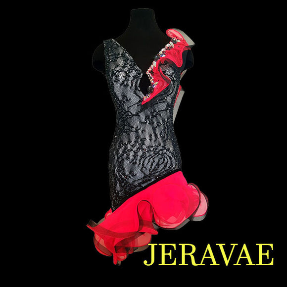 SALE! VOLCANO RED AND BLACK LACE LATIN RHYTHM DRESS LAT025 sz X Small