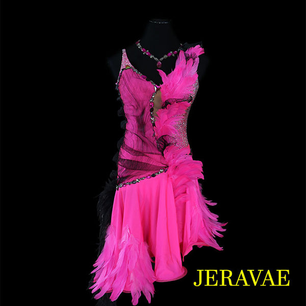 ELECTRIC PINK AND BLACK FEATHER LATIN/RHYTHM BALLROOM DRESS M/L
