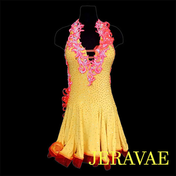 YELLOW AND ORANGE LATIN/RHYTHM DRESS S