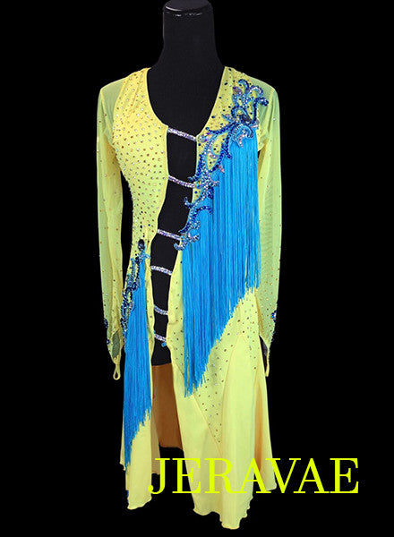 Bright Yellow and Blue Rhythm Dress with fringe LAT034