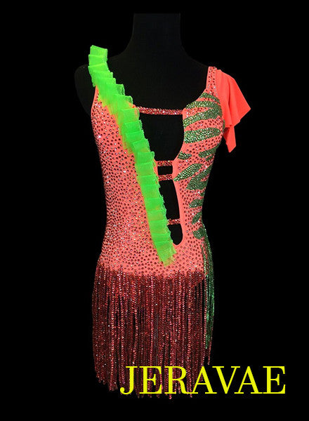 Neon Orange & Lime Green Latin Dress with Stone Skirt Zebra Swarovski Stone Design LAT035 sz Small/Medium