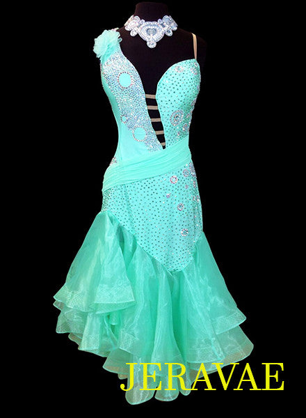 Bright Light Green Latin Dress with Full Skirt and Swarovski Stones LAT036 sz Large