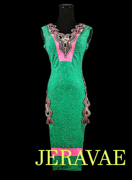 Emerald Green and Pink Latin Rhythm Dress LAT037 sz Small/Medium