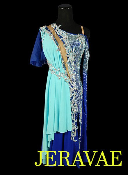 Heavily Stoned Blue Sash Latin Rhythm Dress With Lace Detail and Full Skirt LAT038 sz Large