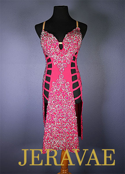 Fucshia pink lace latin Rhythm dress with Swarovski Stones LAT040 sz Medium