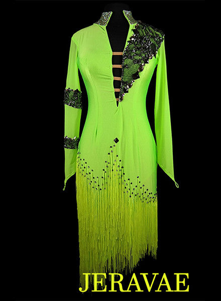 Neon Lime Green and Black Latin Fringe Dress LAT042