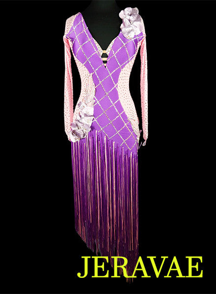 Light Pink and Purple Fringe Latin Rhythm Dress LAT043 sz Small/Medium