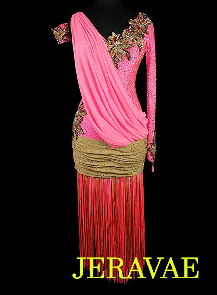 Pink Latin Rhythm Dress with Brown Sash Flowers and Accent Fringe LAT044