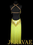Long Yellow Latin Rhythm Dress with Swarovski Stone Fringe LAT047 sz Small/Medium