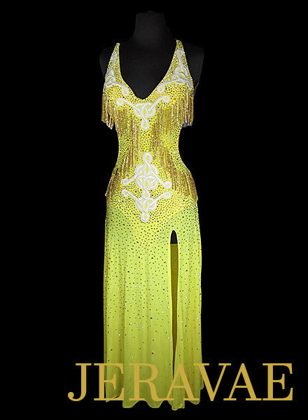 7093be1479 Long Yellow Latin Rhythm Dress with Swarovski Stone Fringe LAT047 sz Small  Medium