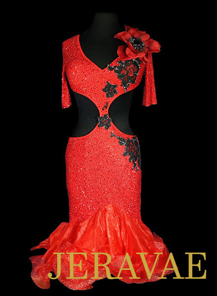 Red Latin Dress with Flower and Black Lace Covered in Swarovski Crystals LAT048 sz Medium
