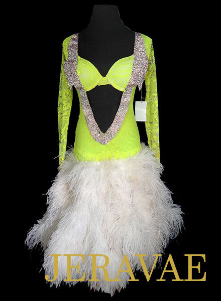 Tropical Leon Lime Green Sponsor Dress with Feather Skirt LAT049