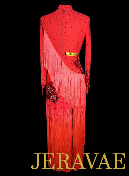 Long Red Latin Rhythm Dress with Fringe and Flower Detail LAT050 sold