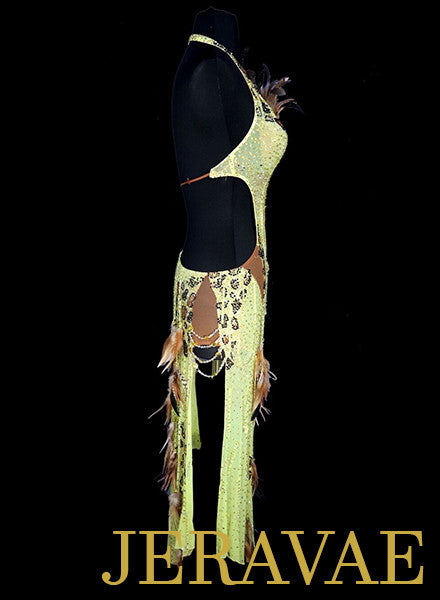 Resale Lime Yellow Latin Dress with Feathers made by Jordy LAT052 sz X Small