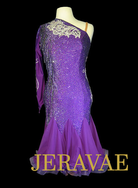 Dark Purple Rhythm Dress with Swarovski Stones Size Large LAT074