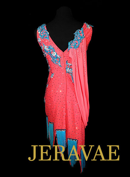 Coral and Blue Rhythm Dress with Fringe, Lace, and Swarovski Stones Size Medium LAT076