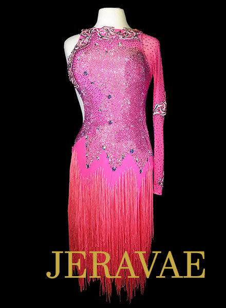 Hot Pink Latin Dress with Fringe and Swarovski Stones Size Medium LAT078