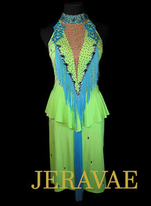 Lime Green and Blue Rhythm Dress with Fringe and Lace accents with Swarovski Stones Size Small LAT080