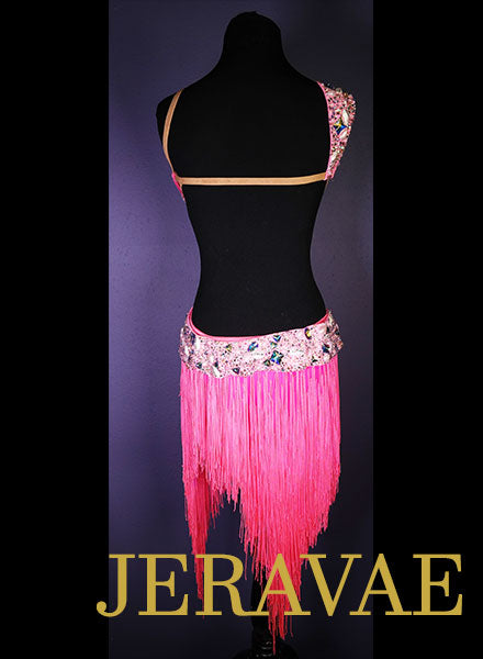 Resale Hot Neon Pink LeNique Fringe Latin/Rhythm Dress sz S/M  LAT084