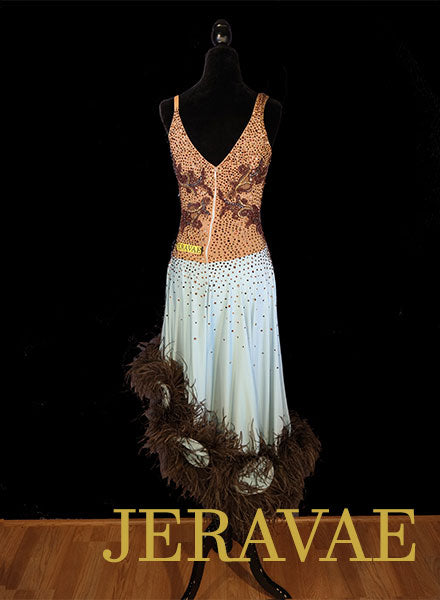 Soft Blue Long Latin/Rhythm Dress with Brown Feather Boa Hem SZ M/L Swarovski