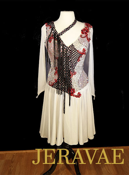 White Black and Red Fringe Latin Dress with Long Sleeves and Fishnet Sz L