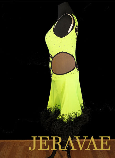 Neon Lime Green Latin/Rhythm Dress with Black Ostrich Boa hem sz M//L Lat090