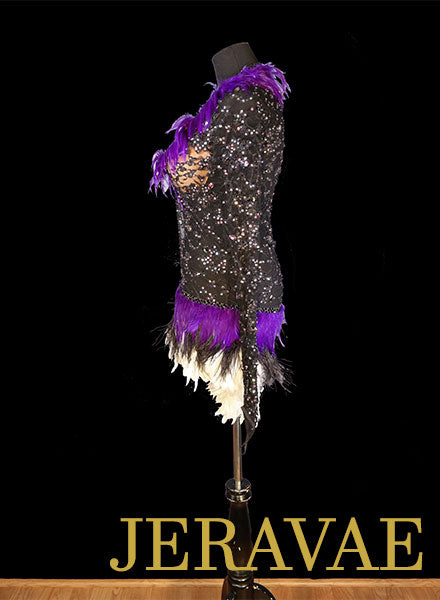 Black Lace and Purple Feather Latin Dress Resale Fiore Designs Size S Lat096