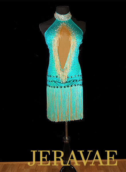 Mint Green Fiore Resale Fringe Halter Latin Dress with Beading and Swarovski Stones size M Lat097