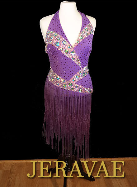 Resale Fiore Purple Latin Dringe Dress with Swarovski Stones Sz M/L LAT098