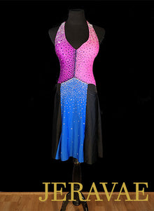 Unique Blue Purple Pink and Black Latin/Rhythm Dress Sz S/M Lat099