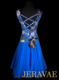 Blue Latin Rhythm Dress With White and Black Lace Accents Covered in Swarovski Crystals LAT204