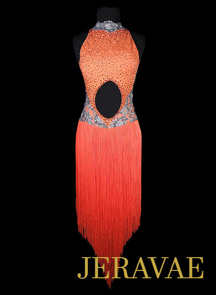 Brigh Neon Orange and Silver Gray Fringe Latin Dress with Long Skirt XS