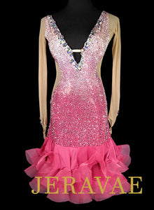 Light Pink Ombre Latin Dress with Swarovski Stones S/M Lat206