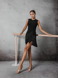 Black ZYM Dancestyle #2011H 9PM Dance Room Fringes Sleeveless Latin Practice Dance Dress with  Bra and Bodysuit Pra523