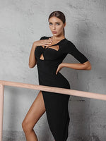ZYM Dancestyle Black Latin Practice Dress with Cut Outs and Half Length Sleeves Features Diagonal Cut Skirt Pra524