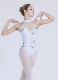 Brinley Floral Sleeveless Dance Leotard With High Waist, Open Back and Halter Neck Collar.  Available in 3 Floral Colors