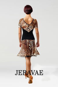 Sexy Black and Golden Brown Animal Print Mesh Latin Practice Skirt with Thin Horsehair Hem and Matching Short Sleeve Practice Top Pra459