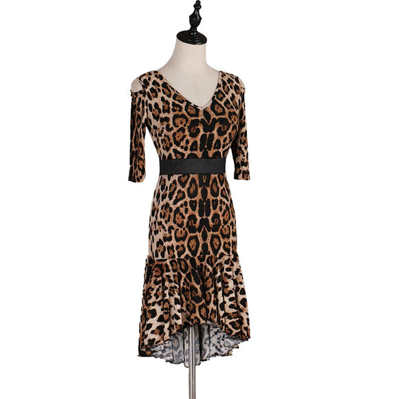 Leopard Print Latin or Rhythm Practice Dress with Half Length Sleeves and Black Built-In Belt.  Available in Sz XXS- 6XL Pra599