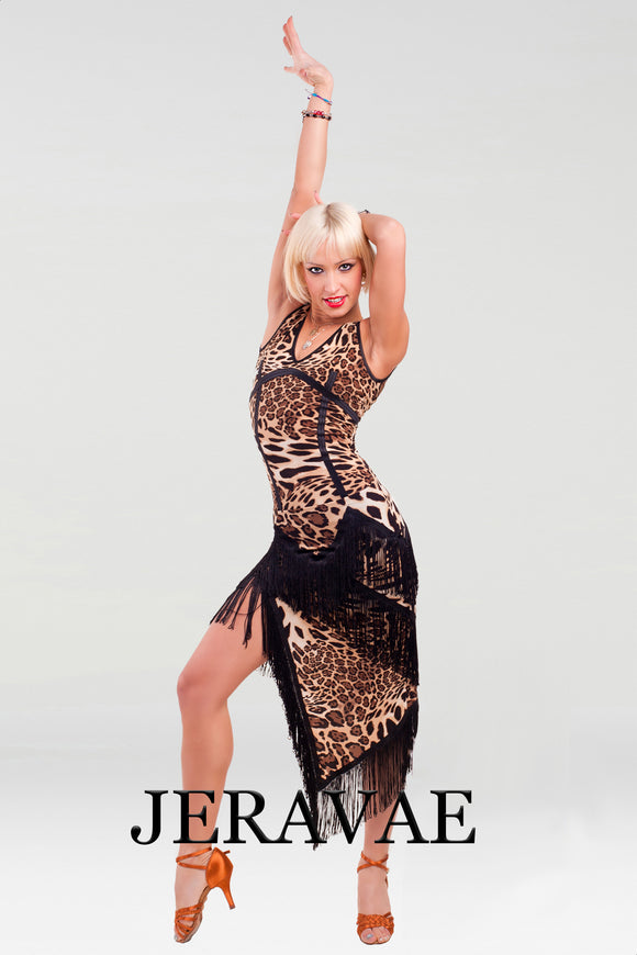 Leopard Latin Practice Skirt with Asymmetrical Fringe and Hem With Matching Leopard Print Sleeveless Practice Top Pra454