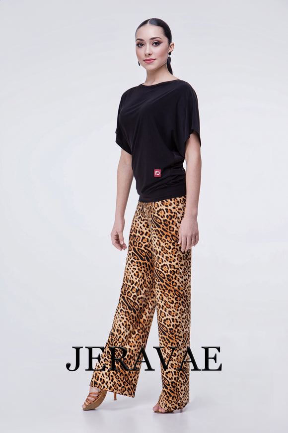 Leopard Print Ballroom Dance Teaching Pants with Soft Hem and Elastic Waist Pra477