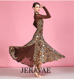 Long Sleeve Leopard Print Ballroom Practice Dress with Lycra/Mesh Sleeves and Gussets Pra489