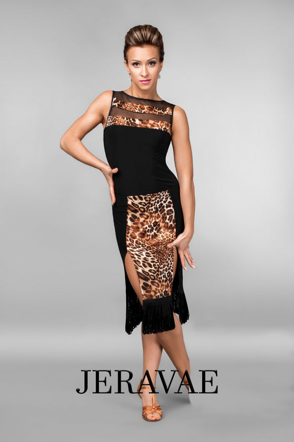 Leopard Print Skirt With Side Slits and Fringe Accents and Matching Sleeveless Mesh Practice Top Pra457