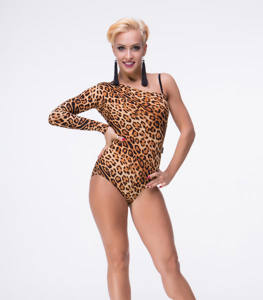 Single Long Sleeve Bodysuit Practice Top in All Black or Leopard Print with One Strap Pra471